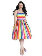 Hell Bunny Retro 50s Knee Length Dress Over The RAINBOW Stripe All Sizes Thumbnail 6