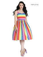 Hell Bunny Retro 50s Knee Length Dress Over The RAINBOW Stripe All Sizes Thumbnail 5
