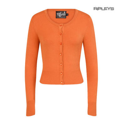 Hell Bunny Ladies Paloma 50s Plain Cardigan Top Orange All Sizes