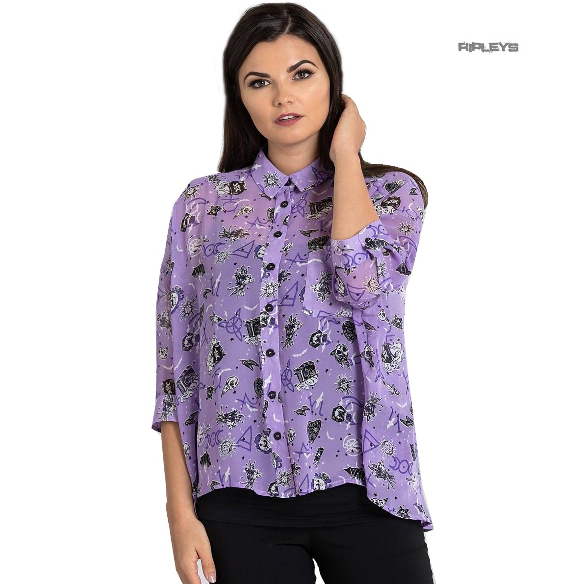 Hell-Bunny-Shirt-Top-Gothic-Witchy-ELSPETH-Lavender-Purple-Blouse-All-Sizes thumbnail 14