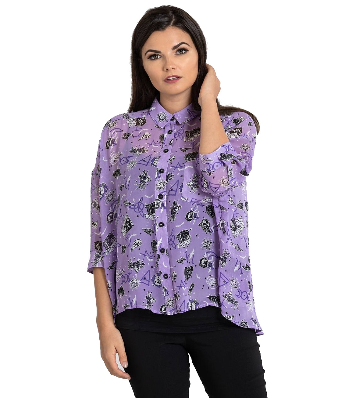 Hell-Bunny-Shirt-Top-Gothic-Witchy-ELSPETH-Lavender-Purple-Blouse-All-Sizes thumbnail 7