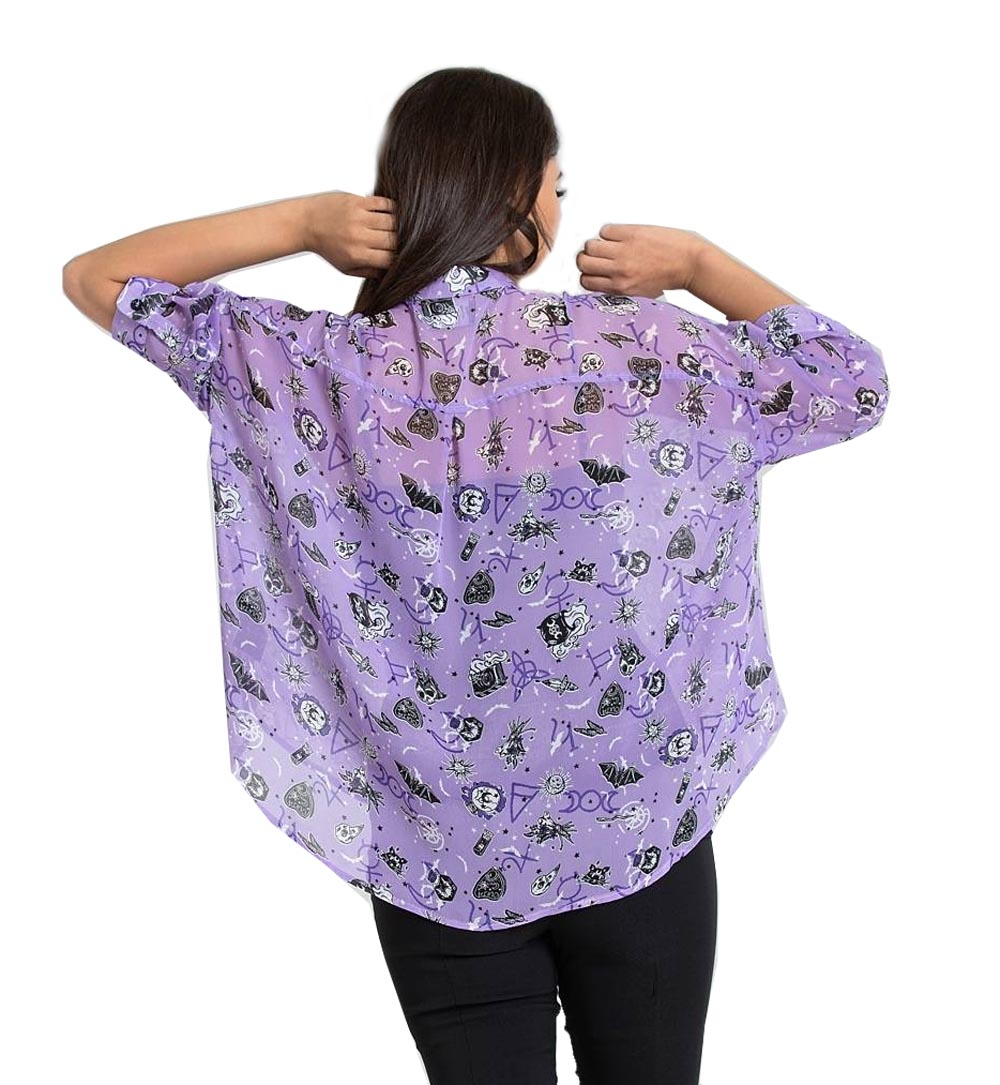 Hell-Bunny-Shirt-Top-Gothic-Witchy-ELSPETH-Lavender-Purple-Blouse-All-Sizes thumbnail 13