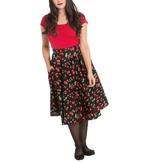Hell Bunny 50s Skirt Vintage Retro Rockabilly SWEETIE Cherry Black  All Sizes Thumbnail 2
