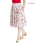 Hell Bunny 50s Skirt Vintage Retro Rockabilly SWEETIE Cherry White  All Sizes Thumbnail 1