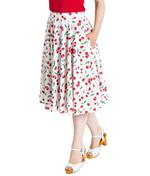Hell Bunny 50s Skirt Vintage Retro Rockabilly SWEETIE Cherry White  All Sizes Thumbnail 2
