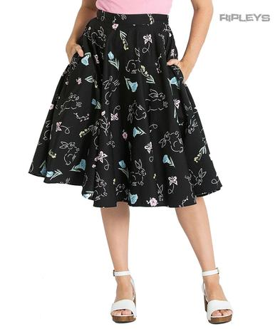 Hell Bunny 50s Black Skirt Vintage Retro Rockabilly BINKY Bunnies All Sizes