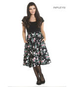 Hell Bunny 50s Black Skirt Vintage Retro Rockabilly LILY ROSE Floral All Sizes Thumbnail 1