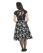Hell Bunny 50s Black Skirt Vintage Retro Rockabilly LILY ROSE Floral All Sizes Thumbnail 4