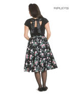 Hell Bunny 50s Black Skirt Vintage Retro Rockabilly LILY ROSE Floral All Sizes Thumbnail 3