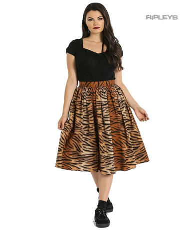 Hell Bunny 50s Skirt Vintage Retro Rockabilly TORA Tiger Print All Sizes