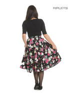 Hell Bunny 50s Black Skirt Wonderland QUEEN OF HEARTS Roses Cards All Sizes Thumbnail 3