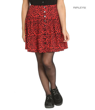 Hell Bunny Retro Punk Goth 50s Mini Skater Skirt LEO Red Leopard All Sizes