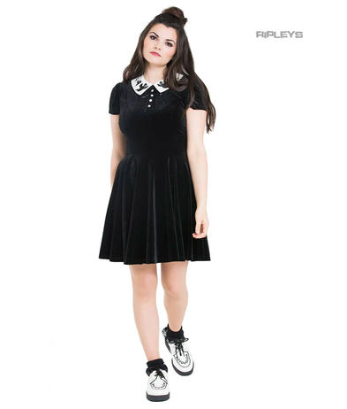 Hell Bunny Gothic Mini Skater Dress CASPER Spooky Ghosts Black Velvet All Sizes