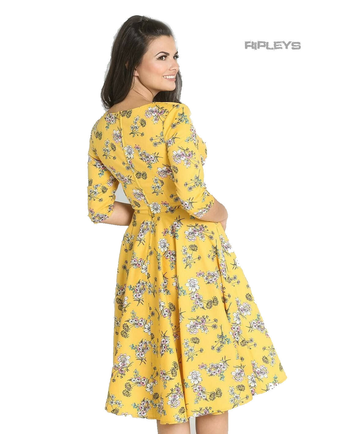 Hell-Bunny-40s-50s-Pin-Up-Vintage-Dress-MURIEL-Flowers-Yellow-All-Sizes thumbnail 16