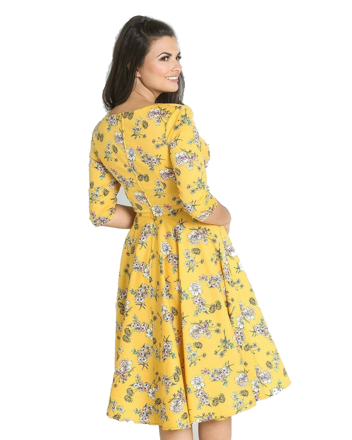 Hell-Bunny-40s-50s-Pin-Up-Vintage-Dress-MURIEL-Flowers-Yellow-All-Sizes thumbnail 5