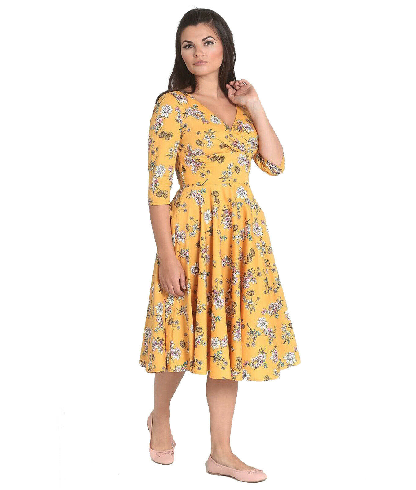 Hell-Bunny-40s-50s-Pin-Up-Vintage-Dress-MURIEL-Flowers-Yellow-All-Sizes thumbnail 3