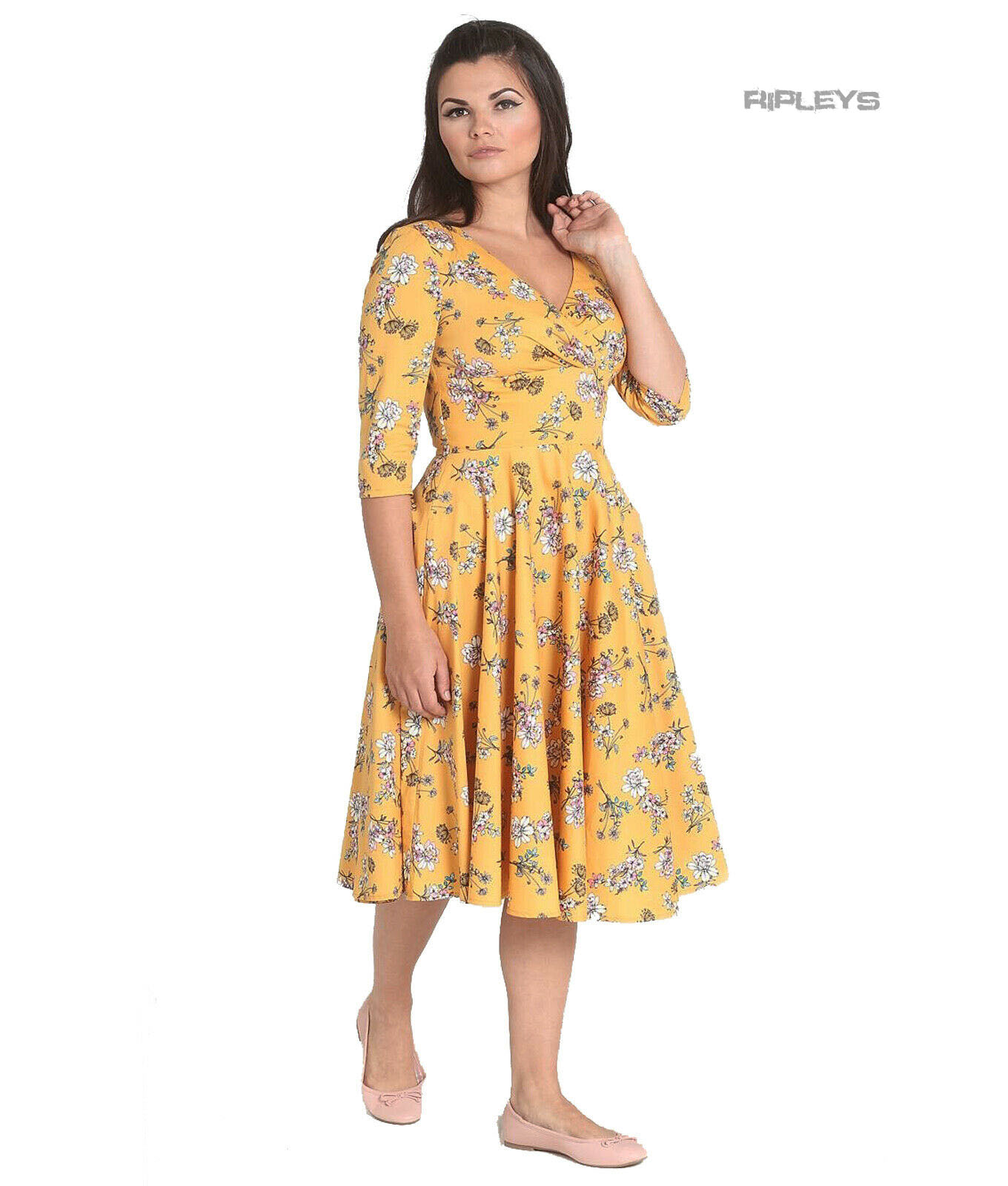 Hell-Bunny-40s-50s-Pin-Up-Vintage-Dress-MURIEL-Flowers-Yellow-All-Sizes thumbnail 2