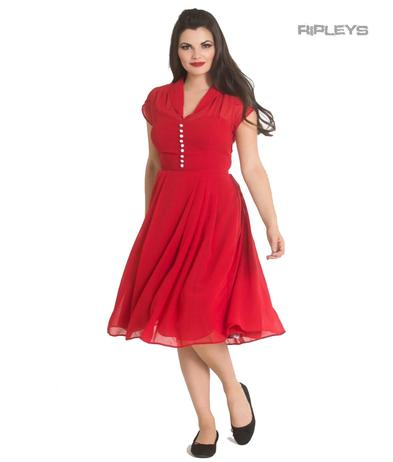 Hell Bunny 40s 50s Elegant Pin Up Dress PAIGE Red Chiffon All Sizes