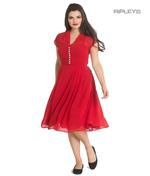 Hell Bunny 40s 50s Elegant Pin Up Dress PAIGE Red Chiffon All Sizes Thumbnail 1
