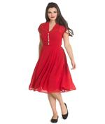 Hell Bunny 40s 50s Elegant Pin Up Dress PAIGE Red Chiffon All Sizes Thumbnail 2