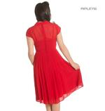 Hell Bunny 40s 50s Elegant Pin Up Dress PAIGE Red Chiffon All Sizes Thumbnail 3