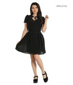 Hell Bunny Gothic Black Floaty Mini Dress ARIA Pussy Bow All Sizes Thumbnail 1