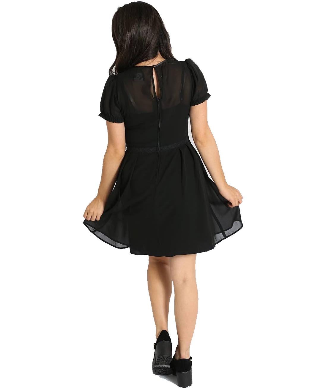Hell-Bunny-Gothic-Black-Floaty-Mini-Dress-ARIA-Pussy-Bow-All-Sizes thumbnail 9