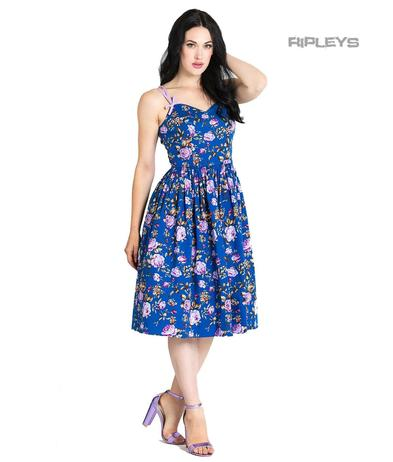 Hell Bunny Vintage 50s Knee Length Dress VIOLETTA Floral Blue All Sizes