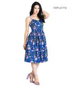 Hell Bunny Vintage 50s Knee Length Dress VIOLETTA Floral Blue All Sizes Thumbnail 1