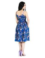 Hell Bunny Vintage 50s Knee Length Dress VIOLETTA Floral Blue All Sizes Thumbnail 4