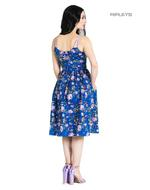 Hell Bunny Vintage 50s Knee Length Dress VIOLETTA Floral Blue All Sizes Thumbnail 3