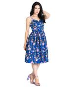 Hell Bunny Vintage 50s Knee Length Dress VIOLETTA Floral Blue All Sizes Thumbnail 2