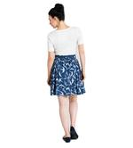 Hell Bunny Vintage 50s Blue Mini Skater Skirt LILOU Swallows Birds All Sizes Thumbnail 4