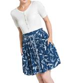 Hell Bunny Vintage 50s Blue Mini Skater Skirt LILOU Swallows Birds All Sizes Thumbnail 2