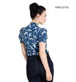 Hell Bunny Shirt Top Vintage Blouse LILOU Swallows Birds Navy Blue All Sizes Thumbnail 3