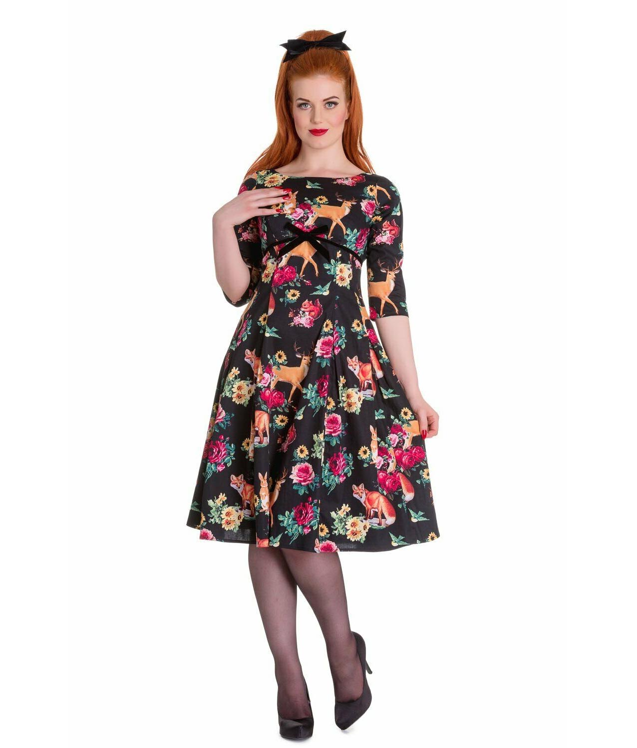 Hell-Bunny-40s-50s-Pin-Up-Vintage-Dress-HERMELINE-Woodland-Fox-All-Sizes thumbnail 3