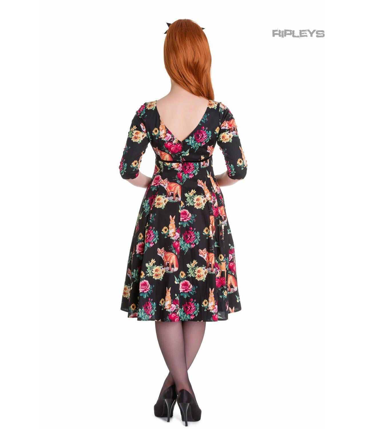 Hell-Bunny-40s-50s-Pin-Up-Vintage-Dress-HERMELINE-Woodland-Fox-All-Sizes thumbnail 4