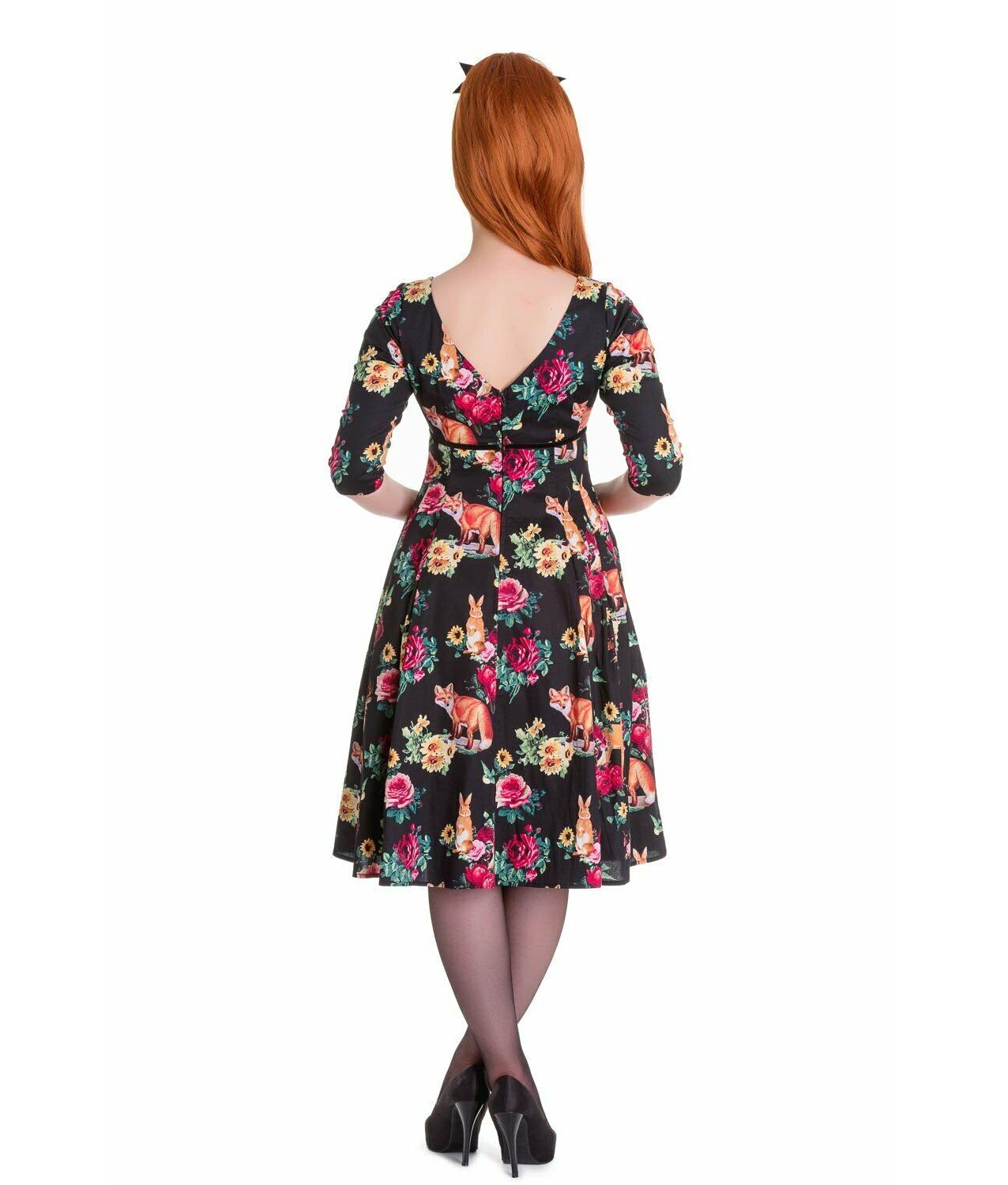 Hell-Bunny-40s-50s-Pin-Up-Vintage-Dress-HERMELINE-Woodland-Fox-All-Sizes thumbnail 9