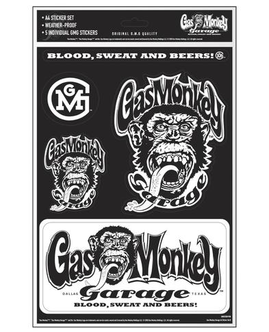 Official Gas Monkey Garage A4 Set of 5 STICKERS #5 Blood Sweat Beers Gift