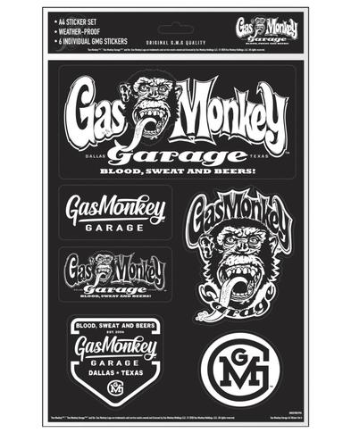 Official Gas Monkey Garage A4 Set of 6 STICKERS #6 Blood Sweat Beers Gift