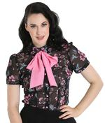 Hell Bunny 50s Shirt Top Black Vintage MADISON Pink Flowers Birds XS - 6XL Thumbnail 2