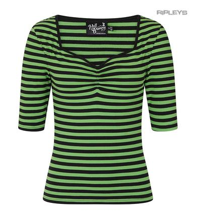 Hell Bunny Shirt 50s Gothic Stripe Retro Top WARLOCK Black & Green All Sizes