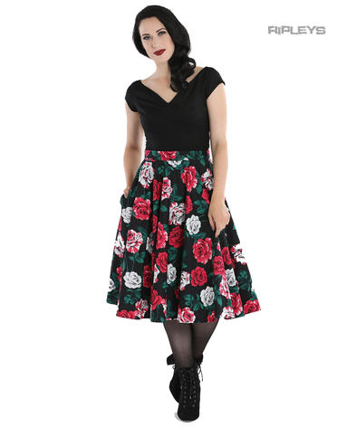 Hell Bunny 50s Black Skirt Vintage Rockabilly RUBY Red White Roses All Sizes Preview