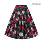 Hell Bunny 50s Black Skirt Vintage Rockabilly RUBY Red White Roses All Sizes Thumbnail 5