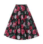 Hell Bunny 50s Black Skirt Vintage Rockabilly RUBY Red White Roses All Sizes Thumbnail 4