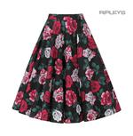 Hell Bunny 50s Black Skirt Vintage Rockabilly RUBY Red White Roses All Sizes Thumbnail 3