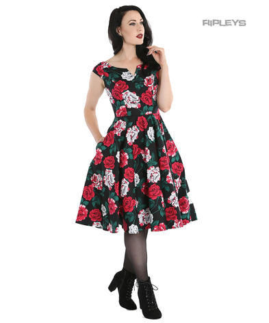 Hell Bunny 50s Dress Red White Roses RUBY Rockabilly Pin Up Black All Sizes