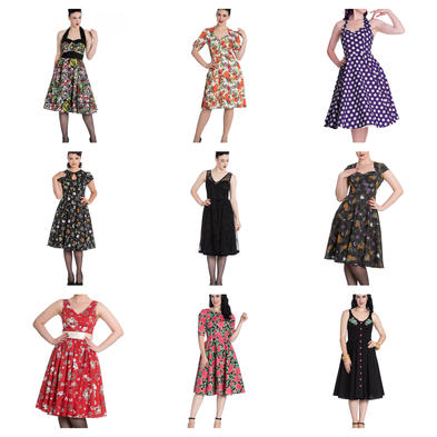Wholesale Mixed Vintage ALTERNATIVE 50s Job Lot 10 HELL BUNNY Dresses Size XS 8 #1