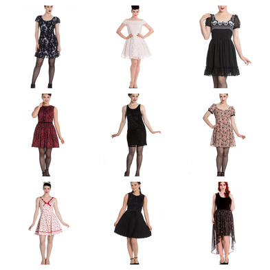 Wholesale Mixed Vintage RETRO MINI Job Lot 10 HELL BUNNY Dresses XS 8 #1
