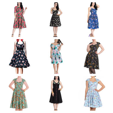 Wholesale Mixed Vintage RETRO 50s Job Lot 10 HELL BUNNY Dresses S 10 #3